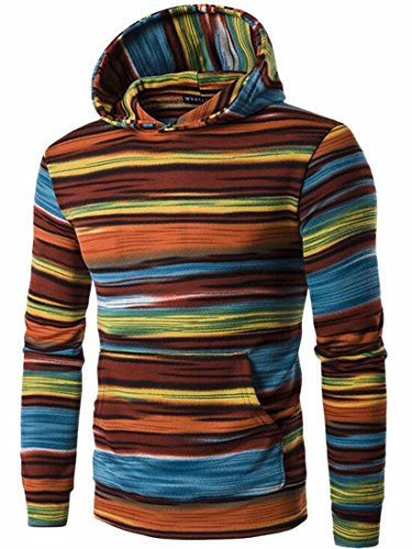 UK 1 colorful Mens Casual Long Sweatshirt Pullover Sleeve today Stripe Hooded OURaBnBW