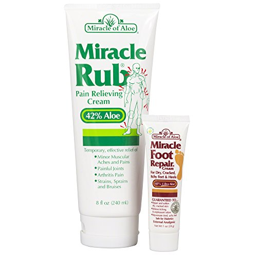 Miracle of Aloe, Miracle Rub Pain Relieving Cream with 42% UltraAloe - 8 ounce tube PLUS Miracle Foot Repair 1 oz.