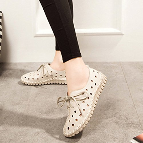 Socofy Leather Soft Shoes, Women's Fashion Hollow Breathable Stitching Lace Up Flat Casual Outdoor Shoes White