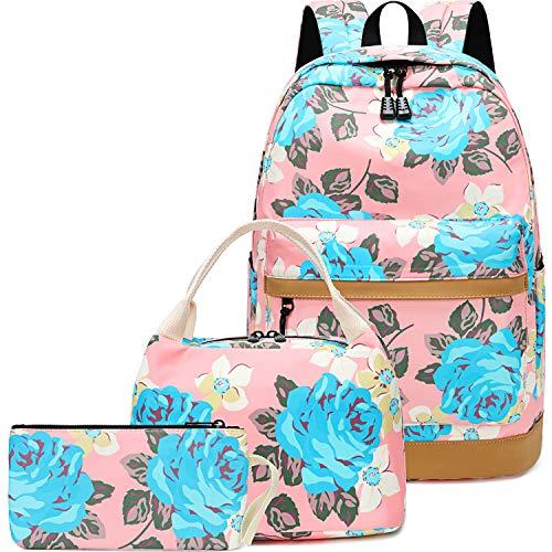 BLUBOON Girls Backpack for School Kids Book Bag Set Floral Laptop Backpack Casual Daypacks 3 in 1 (Pink-0045)