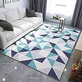 WAN SAN QIAN- Children Bedroom Carpet Nordic Carpet Living Room Carpet Sofa Rug Home Economy Rectangle Polyester Rug Rug ( Color : Blue , Size : 140x200cm )