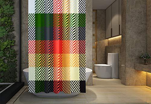 Jacrane Baby Shower Curtain, Bathroom Shower Curtain Liner Waterproof Fabric,Plaid Tartan Epspattern Modern Stylish Texture Monochrome Trellis Repeating Geometric Hexa Free Plastic Hooks,72X72Inch