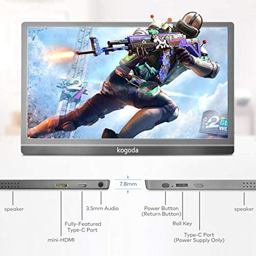 13.3″ Portable Monitor, Kogoda FHD 1080P USB Computer Display Eye Care Gaming Monitor External Secondary Display with IPS Panel, HDMI, Type-C, Dual Speakers for PC Laptop Mac Phone PS4 Xbox (Gray) 515r0Lv01YL
