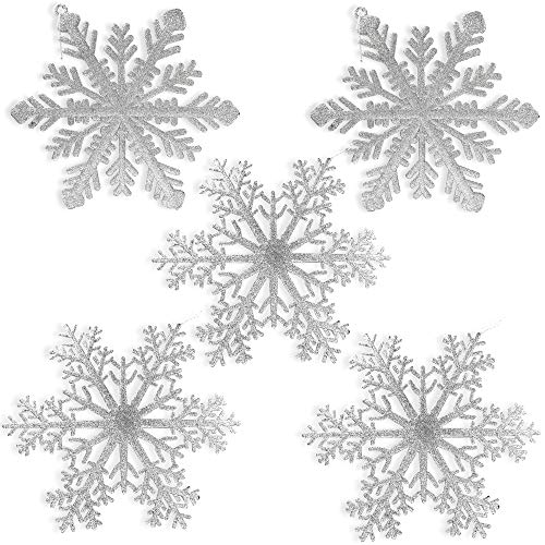 BANBERRY DESIGNS Large Snowflakes - Set of 5 Silver Glittered Snowflakes - Christmas Snowflake Ornaments Approximately 12