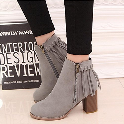 120W high Retro boots winter tassel NSXZ short GRAY heels shoes 6AzqXw