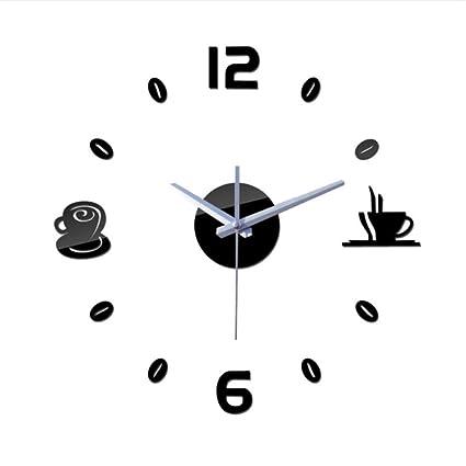 Shuangklei Cuarzo Relojes De Pared Café Bricolaje Moderno Bodegón Grande Decorativo Reloj Reloj Digital