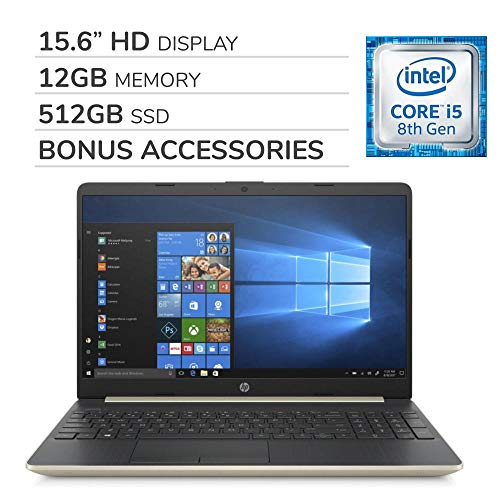 HP Pavilion 2019 Premium 15.6 HD Laptop Notebook Computer, 4-Core Intel i5-8265U 1.6 GHz, Intel UHD Graphics, 12GB RAM, 512GB SSD, No DVD,Webcam, Bluetooth, Wi-Fi, HDMI, Windows 10, Bonus Accessories