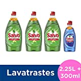 Salvo Lavatrastes Líquido Limón y Botella Power Clean, 2.55 L
