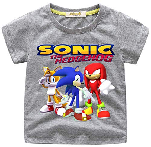 Indepence Life Boys' Sonic The Hedgehog T-Shirt - Featuring Sonic, Tails, and Knuckles Tee for 2-13Years Kids(Gray, 6T) -