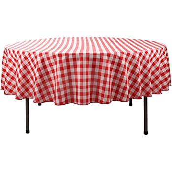 E TEX Round Tablecloth U2013 70 Inch U2013 Red U0026 White Checked Round Table Cloth  For Circular Table In Washable Polyester