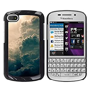 FECELL CITY // Duro Aluminio Pegatina PC Caso decorativo Funda Carcasa de Protección para BlackBerry Q10 // Sun Summer Awe Inspiring God Clouds