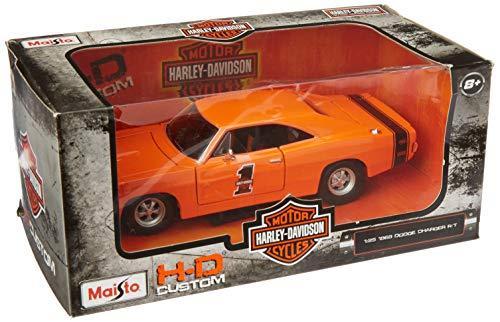 Orange Dodge Model - Maisto Harley-Davidson Custom 1969 Dodge Charger R/T 1/24 Scale Diecast Model Car Orange