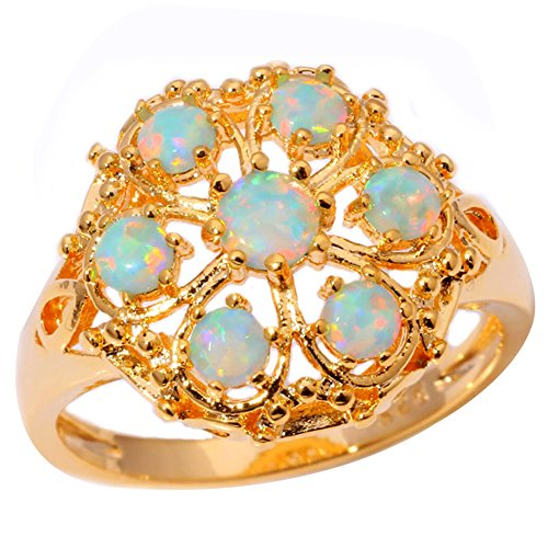 CiNily Silver Yellow Gold Green Opal Women Jewelry Gemstone Ring Size 7-10 (8)