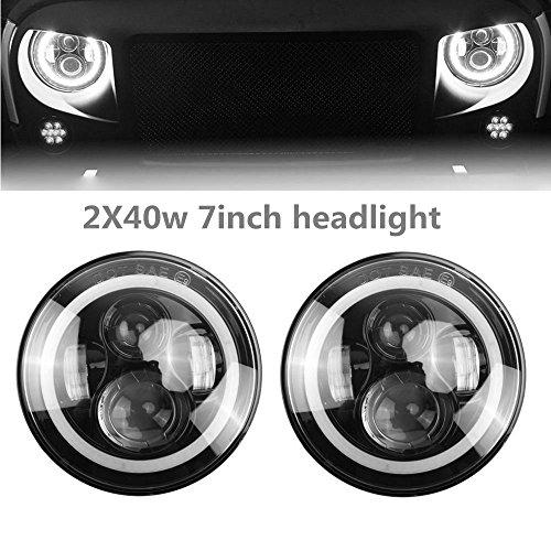 Lumitek 2x40w 7 Inch Jeep Wrangler Headlights Round Led