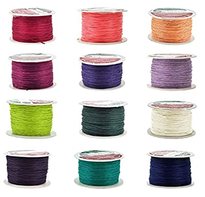 Mandala Crafts® 1mm Waxed Cord, for Beading and Macrame Supplies, 100 Meters, 109 Yards