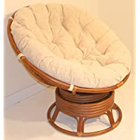 Papasan Swivel Chair Natural Rattan EXTREMELY COMFY ECO Handmade w/ Cream Cushions, Cognac