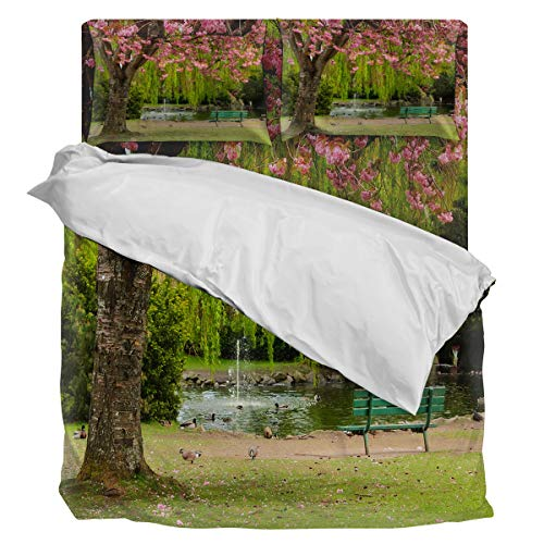 Bedding Set Duvet Cover- Romantic Cherry Tree Pigeon Bench Lake Park Scenery Luxury Soft Comfortable 4 Piece Home Decoration Include 1 Flat Sheet 1 Duvet Cover and 2 Pillow Cases, Full -