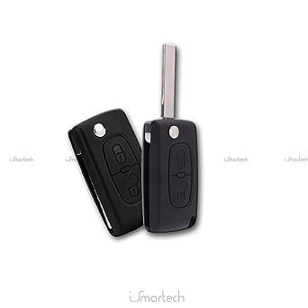 Peogeot - Carcasa para llave-mando, con 2 botones, sin ranura, para Peugeot 107, 207, 307, 308 y 407