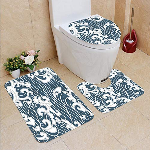 (3 Sets of Bathroom Home, Bathroom Carpet + Contour pad + lid Toilet seat,Japanese Wave Hand Drawn Traditional Style Aquatic Doodle River Storm Retro Abstract Slate, Flannel)