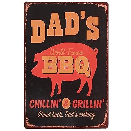 Amazon.com: +Urbano Dad\'s BBQ Tin Sign for Kitchen, Bar ...