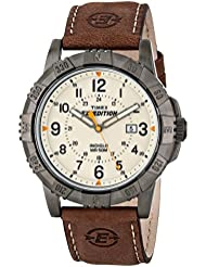 Timex Mens T49990 Expedition Rugged Metal Brown/Natural Leather Strap Watch