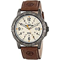 Men's T49990 Expedition Rugged Metal Brown/Natural Leather Strap Watch
