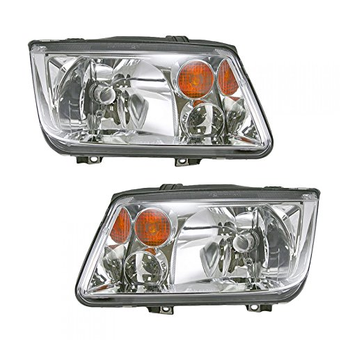 Headlights Headlamps Left & Right Pair Set for 02-06 VW Jetta