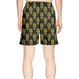 truye rrelk Patterned Pineapple Green and Brown Dark Quick Dry Mens Guys Beach Shorts