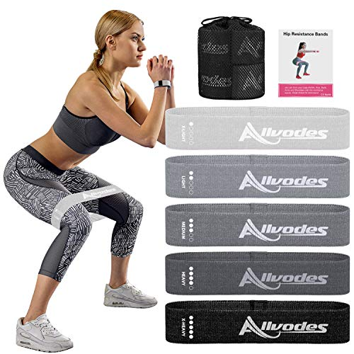 Allvodes Resistance Bands for Women Butt and Legs, Booty Bands, Non Slip Elastic Exercise Workout Bands (Light-Colored)