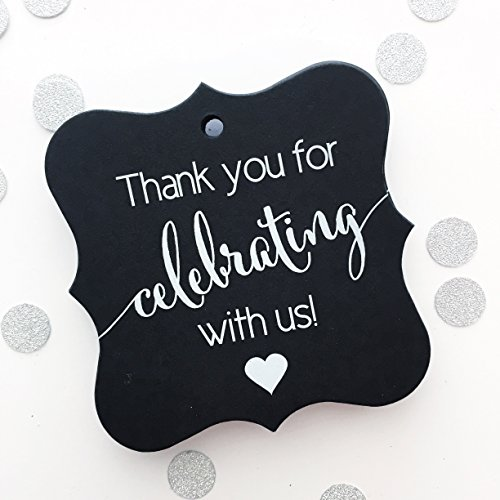 Thank You Favor Tags, Thank You Wedding Tags, Thank you for Celebrating With Us (FS-362-BK)