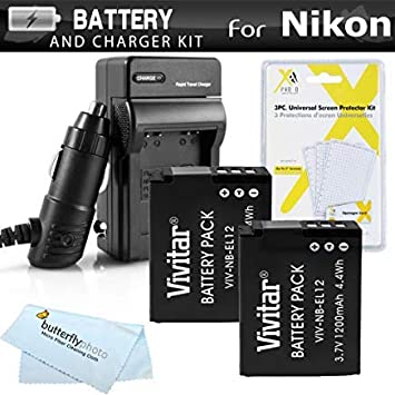 2 Pack Battery and Charger Kit for Nikon COOLPIX S9900, A900, W300, S9300 S6300, S9200, AW120, AW130, S9700, KeyMission 360, KeyMission 170 Camera ...