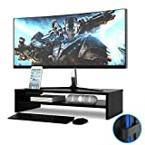 1home Wood Monitor Stand TV PC Laptop Computer Screen Riser Desk Storage 2 Tier Black, W540 x D255 x H130mm (with Smartphone Holder and Cable Management)