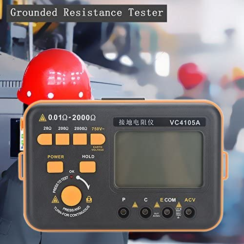 Oumefar Tester Resistance Meter Ground Standard Digital LCD Display Clamp Earth for Power Grid Electrical Construction Engineering