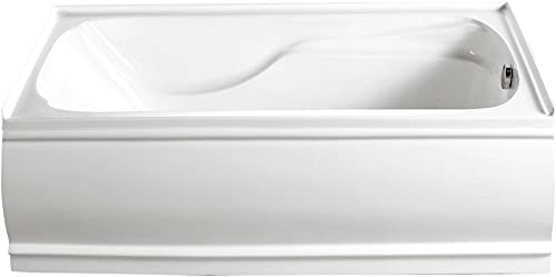 KINGSTON BRASS VTDE603221R 60-Inch Contemporary Alcove Acrylic Bathtub with Right Hand Drain and Overflow Holes , White