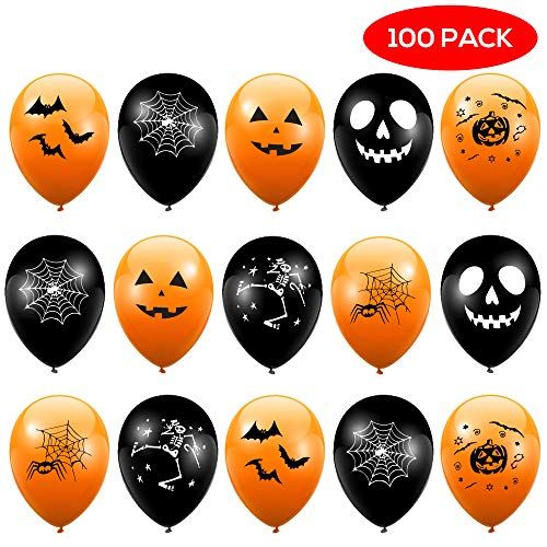 THE TWIDDLERS 100 Latex Halloween Party Balloons - Black & Orange Balloon Party Decorations | Halloween Balloons | Many Different Balloon Designs Ghost Webs Bat Pumpkin Skeleton