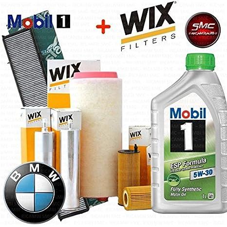 Kit Tagliando con 8 l aceite motor MOBIL 1 Esp 5 W30 + 4 Filtros ORIGINALES