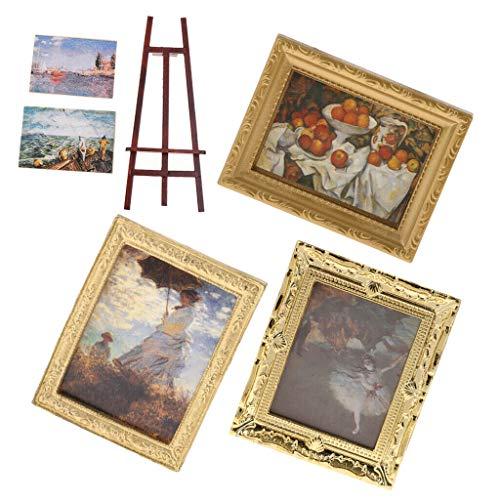 NATFUR Retro Mural Painting Wall Decor Mini Easels for 1/12 Dollhouse Furniture ()