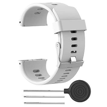 Teepao Correa para Polar V800, Correa de Silicona de Repuesto para Reloj Pulsera de Accesorios para Polar Smart con Herramientas, Blanco: Amazon.es: ...