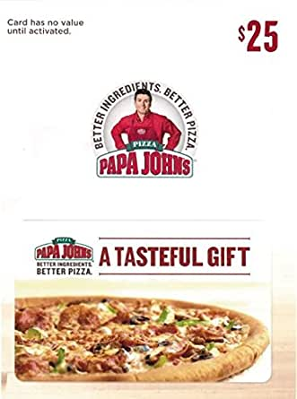 papa john gift card amazon com papa john s pizza 25 gift card gift cards 4251