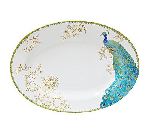 Peacock Garden (222 Fifth 1027WH601A1H61 Peacock Garden Oval Platter, White)