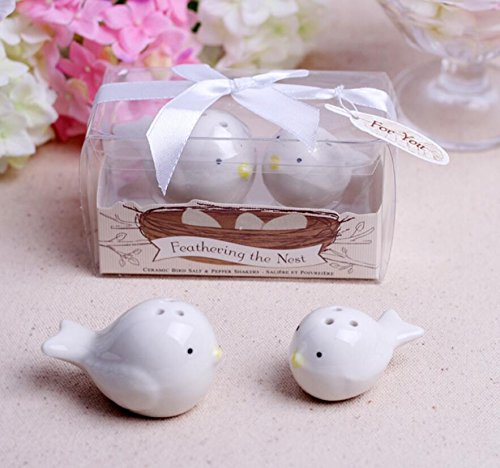 Feathering The Nest Ceramic Birds Salt and Pepper Shakers For Wedding Favors, Set of 72
