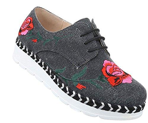 Damen Halbschuhe Schuhe Schnürer Elegant Boots Grau 36 37 38 39 40 41 Grau