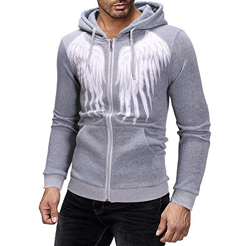 (Kaicran Fashion New Men's Lightweight Lined Zip Up Hoodie Jacket Angel Wings Print Coat Outwear (Gray, L))