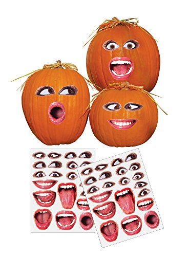 (Pumpkin Face Stickers Set of 2 Sheets - Easy Way to Decorate for Halloween, Create Your Own Face just by Sticking Them On, Set Includes Faces for 14)