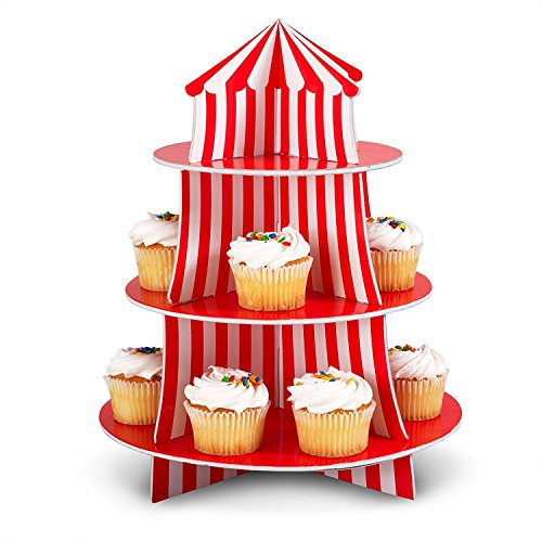 Big Top Circus Carnival 3 Tier Cupcake Holder Centerpiece Birthday Decorations (1) (1)