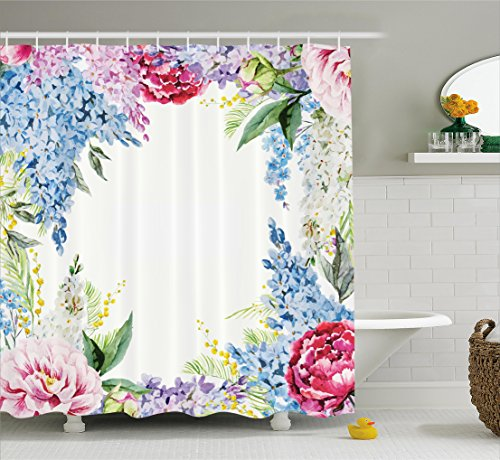 Flower Shower Curtain by Ambesonne, Springtime Fragrance Garland with Bunch of Flowers Lilac Lavender Rose Peony Artsy Print, Fabric Bathroom Decor Set with Hooks, 75 Inches Long, Multi (Roses Peony)