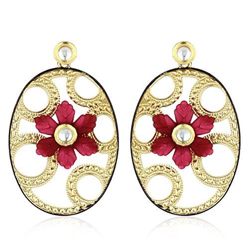 [Entrega en 8-12 días laborables] Fasherati Antique Finish Marroon Acrylic Flower Long Dangler Earrings For Women