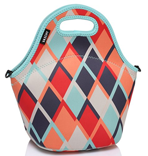 VASCHY Neoprene Lunch Tote Bag Designed by Artist 12.9x13.4x6.3 in with Detachable Adjustable Shoulder Strap for Women and Kids in Retro Rhombus