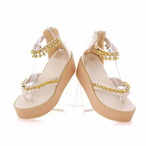 Fashion Platform Rivet Zipper Womens Shoes Color Candy Sandals Beige Sweet Chic Carol Popular wB6Uw
