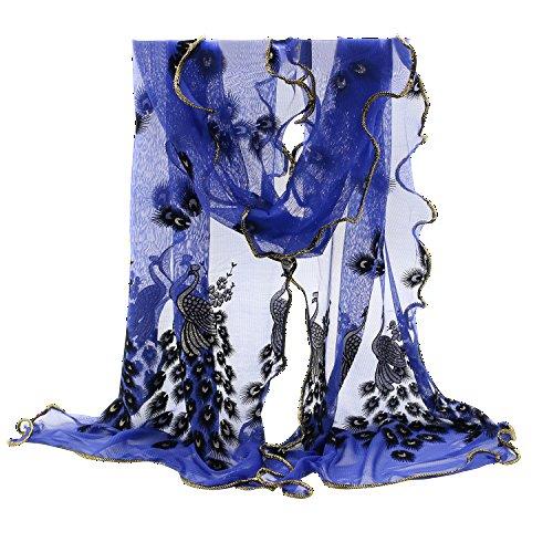 Sanwood Trendy Women Gauze Embroidered Peacock Veil Church Mantilla Scarf Shawl Wrap (Dark Blue)